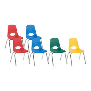 "Factory Direct Partners 14"" School Stack Chair Swivel Glide, 6-Piece, Assorted"