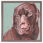 """GreenBox Art + Culture - """"Chocolate Lab"""" Mini Framed Canvas by Stephanie Jeanne - A portrait of a chocolate Labrador against a printed green and pink background."""