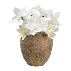 """4.5"""" Decorative Paperwhite Silk Flowers Potted in Easter Egg Spring Decoration"""