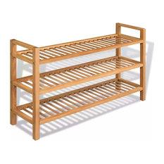 "vidaXL Solid Oak Wood Shoe Rack with 3 Shelves 23.4"" Hallway Footwear Storage"