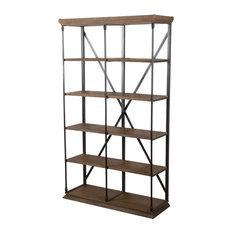 GDF Studio Alondra 5-Shelf Industrial Weathered Wood Bookshelf, Khaki