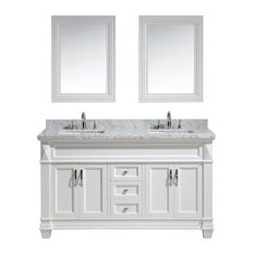 "Hudson 61"" Double Sink Vanity Set, White With White Carrara Marble Countertop"