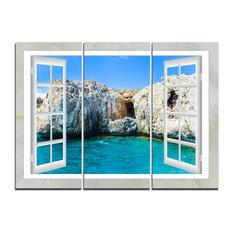 """""""Window Open to Sunny Summer Sea"""" Canvas Art, 3 Panels, 36""""x28"""""""
