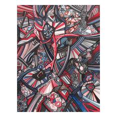 """Abstract Art, Original Mixed Media Drawing, 11""""x14"""""""