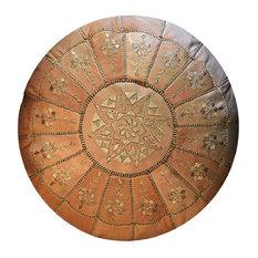 Half Arch Design Moroccan Leather Pouf, Sand, Stuffed