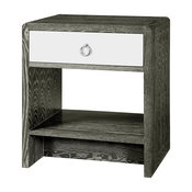 Luce Modern Classic Silver Limed Gray Lacquer Nightstand