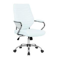 LeisureMod Winchester Modern Executive Leatherette Office Chair, White