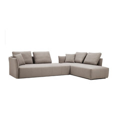 Divani Casa Polson Modern Modular Light Gray Fabric Sectional Sofa Bed