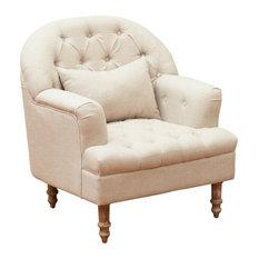 GDF Studio Nelson Tufted Fabric Arm Chair, Sandy Beige