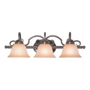 Rubbed Bronze Golden Lighting Homestead RBZ 3 Light Vanity Light 8606-BA3RBZ