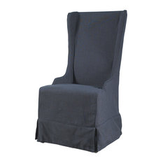 1st Avenue - Anne Linen Wing Dining Chair, Charcoal Linen - Dining Chairs