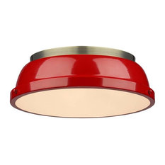 """Duncan 14"""" Flush Mount, Aged Brass With Red Shade"""