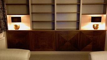 Built in Walnut Shelving & Cabinet