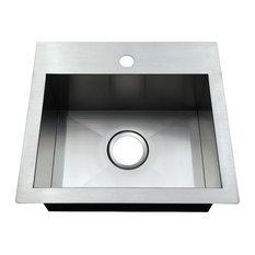 Gourmetier Dual Mount Drop-In Kitchen Sink, Brushed