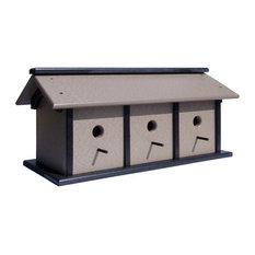 Triple Weatherproof Handmade Bird House, Black/Gray