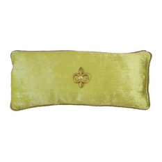 Green-Celadon-Lime Velvet Beaded Pillow With Removable Jewels, Gold Fleur
