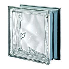 Pegasus Metalized Wavy Glass Block, Neutro, Clear
