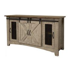 Puebla Gray TV Stand W/ Barn Doors 70-inch