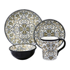 Bimini Collection 16 Piece Black and brown Beaded Stoneware Set By Lorren Home