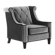 Barrister Chair, Gray Velvet With Black Piping by Armen Living