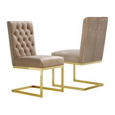Cameron Velvet Dining Chair, Set of 2, Beige