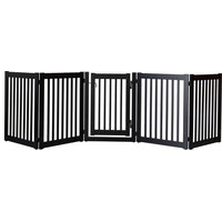 Highlander Series Solid Wood Pet Gate, 5-Panel Walk Through, Black