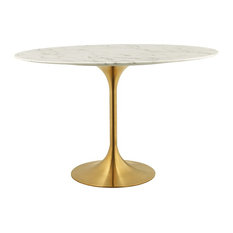 """Lippa Oval Dining Table With Gold Base, Marble Top, 48"""""""
