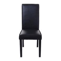 HomCom PU Leather Contemporary Parsons Dining Chair, Black