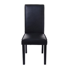 Aosom   HomCom PU Leather Contemporary Parsons Dining Chair, Black   Dining  Chairs