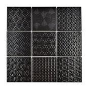 """SomerTile 11.63""""x11.63"""" Spirit Porcelain Mosaic Floor/Wall Tile, Black"""