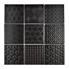 "11.63""x11.63"" Vitality Porcelain Mosaic Floor/Wall Tile, Black"