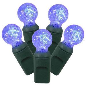 """LED G12 Christmas Lights 4"""" Spacing, Green Wire, Blue"""