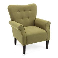 High Wingback Linen Armchair, Avocado