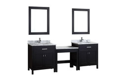 """Two London 30"""" Single Sink Vanity Set, Espresso,One Make-up table, No Mirror"""