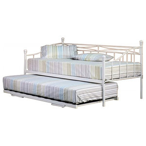 Single Day Bed in White Finish Metal with Trundle and 2 Basic Budget Mattresses