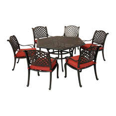 Stinson Aged Bronze Aluminum 7-PieceDining Set With Cushion Arm Chairs, Terracot