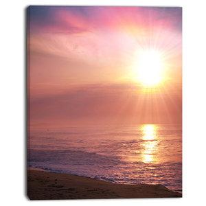 "Purple Tinged Seashore At Sunset, Seashore Canvas Art Print, 30""x40"""