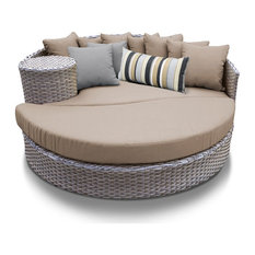 TKC Oasis Round Patio Wicker Daybed in Wheat