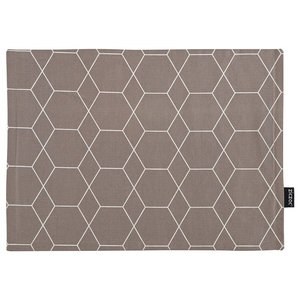 Hexagon-Patterned Placemats, Taupe, Set of 6