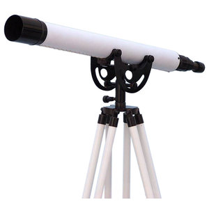 """Floor Standing Oil-Rubbed Bronze-White Leather Anchormaster Telescope 50"""""""