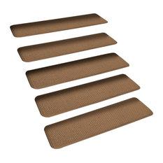 "Set of 15 Skid-Resistant Carpet Stair Treads Toffee Brown, 8""x23.5"""
