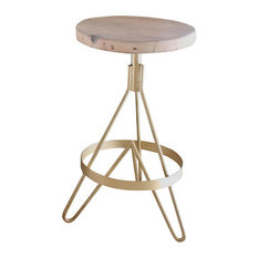 The Earhart Stool Industrial Modern Barstool Reclaimed Wood Brass Counter