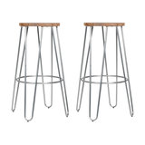 Hairpin Metal Kitchen Stool, Natural Wood, Raw Laquered Steel, Medium, Set of 2