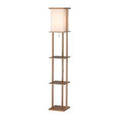 Asian Floor Lamps: Adesso - Barbery Shelf Floor Lamp - Floor Lamps,Lighting