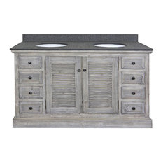 "Double Fir Sinks Vanity Driftwood With Polished Surface Granite Top, 60"", Gray"