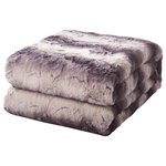"""Tache Home Fashion - Tache Luxurious Purple Black Striped Faux Fur Throw Blanket, 90""""x90"""" - Brown Striped Faux Fur Throw Blanket keeps everyone cozy and warm. Perfect for outdoor, or just simply for watching TV. Stay warm during the cold weather and feel great with this faux fur throw. Unbelievably soft and plush. Dynamic decor piece to throw over the bed, chair, or sofa, it serves as a fashionable, functional accent piece. Perfect blanket to cuddle up on a chilly evening. Luxurious comfort of oversize faux-fur throw. It is available in two generous sizes: 50"""" x 60"""", and 63"""" x 87"""", Now in this new dimension 90""""X 90"""" IN."""