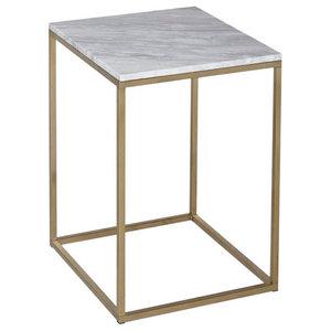 Kensal Marble Side Table, Brass Base
