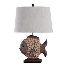 Nemo Table Lamp, Brown Body, White Shade
