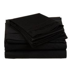 Solid Egyptian Cotton California King Deep Pocket Sheet Set, Black