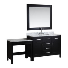 London Single Sink Vanity Set With Make-up Table, Espresso, 48""